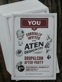 Letterpress Invitation: Drupalcon Afterparty by smokeproof, via Flickr