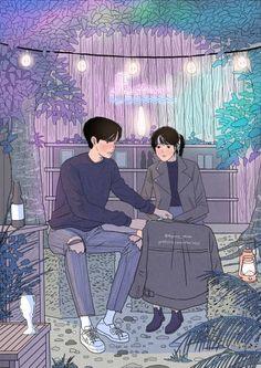 This Korean Artist Giving Serious Through His Illustration Drawing Art And Illustration, Korean Illustration, Cute Couple Drawings, Cute Couple Art, Hipster Drawings, Easy Drawings, Pencil Drawings, Korean Wallpaper, Hipster Wallpaper