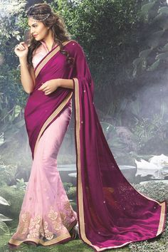 Purple and pink Designer Party Wear Indian Actress Saree Online From Skysarees.