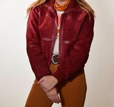 ec1642e6 Vintage 1970s maroon red suede leather cropped bomber jacket women's size  small