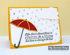 Blue Skies Ahead, Cloud Cover-Up Die-namics, Layered Umbrella Die-namics, Raindrops Stencil - Debbie Carriere #mftstamps