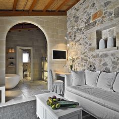 The Relais Masseria Capasa Hotel was completed in 2013 by the Porto Viro based designer Paolo Fracasso. This beautifully styled hotel was built with natural Home Interior Design, Interior Architecture, Interior And Exterior, Interior Decorating, Italy Architecture, Style At Home, Stone Houses, Design Case, Rustic Interiors