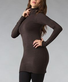 Take a look at this Chocolate Turtleneck Tunic by Zac Studio on #zulily today!