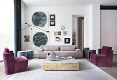 Fabolous Velvet Sofa Design Ideas for Living Rooms Sofa Design, Furniture Design, Living Room Sets, Living Room Decor, Living Spaces, Pink Sofa, Deco Design, Design Trends, Milan Design