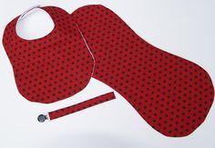 Ladybug Baby Bib Burp Cloth & Pacifer Clip Handmade Boutique Gift Set Red with Black Dots by PurpleLadybugGifts on Etsy