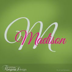 Girls Monogram Vinyl Wall Decals, Name & Initial for Your Bedroom Decor, Baby Nursery, Toddler, Custom Wall Art, Madison on Etsy, $25.00