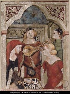 frise sur mur arriere plan Italian School-Bergamo, Partita a scacchi, is a painted fresco laid on canvas from the second half of the century. / 67 x 51 cm. Medieval World, Medieval Art, Medieval Castle, Tempera, Fresco, Courtly Love, Medieval Games, Medieval Furniture, Race In America