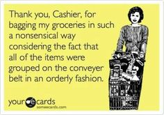 """First, I put up my """"cold"""" items reusable bag.. Then my """"cold"""" items.  So why do paper products end up in the cold bag and freezer items in a regular one ?  Blag."""