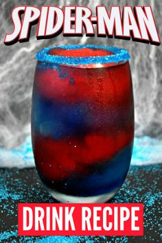 If you're looking for something fun for Spider-Man party ideas or Marvel movie-watching parties, then this SpiderMan frozen drink is for you! alcoholic drinks 23 Movie Themed Cocktails That Are Awesome Kid Drinks, Liquor Drinks, Frozen Drinks, Non Alcoholic Drinks, Cocktail Drinks, Disney Drinks, Cocktail Tequila, Beverages, Bourbon Drinks