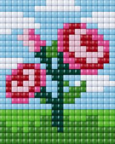 #pixelhobby #flower #bloem Owl Crochet Patterns, Bead Loom Patterns, Perler Patterns, Beading Patterns, Mini Cross Stitch, Cross Stitch Charts, Cross Stitch Designs, Cross Stitch Patterns, Plastic Canvas Crafts