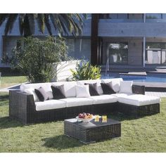 Hospitality Rattan Soho 6 Piece Deep Seating Group with Cushions Fabric: Canvas Vellum