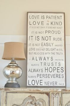 Our love is patient sign is 4 ft X 2 ft with the frame. You can order it horizontal or vertical. We are so excited to share this version of