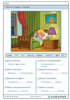 2nd Grade Reading Worksheets, English Worksheets For Kindergarten, English Grammar Worksheets, 1st Grade Writing, English Story Books, English Stories For Kids, English Lessons, Learn English, English Prepositions