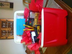 Use a cooler as a gift basket to fill with new tools for dad :)