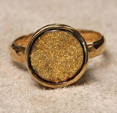 Gold Druzy Ring by SashaGems on Etsy, $85.00