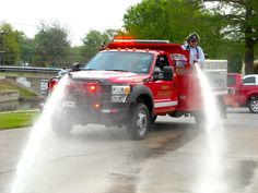The new brush truck has a remote control water cannon turret on the front. Police Truck, Police Patrol, Ambulance, Brush Truck, Automobile, Water Storage Tanks, Volunteer Fire Department, Rescue Vehicles, Fire Equipment