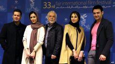 Iranian actors Pejman Bazeghi, Parinaz Ezadyar, Changhiz Jalilvand, Rana Azadivar, Amir Ali Danaifar at the Fajr Film Festival, 02/02/2015, in Tehran.