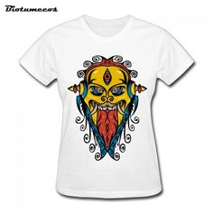 $17.55 Women T Shirts Fashion Short Sleeve  Monster With Long Tongue And Sharp Teeth Curly Fur Printed T-shirt summer Top Tees WTD062