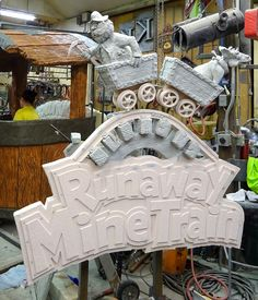 Runaway Mine Train Sign in process — Sawatzky's Imagination Corporation