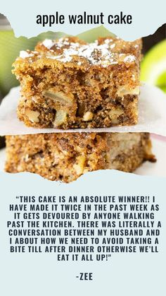 Apple Walnut Cake is a moist snack cake with apples and walnuts in every bite. It's one of the best apple recipes to make during the apple picking season! This cake is so full of flavor that no frosting is needed. A simple dusting powdered sugar will do! Apple Walnut Cake Recipe, Walnut Recipes, Best Apple Recipes, Favorite Recipes, Healthy Recipes, Baking Recipes, Cake Recipes, Dessert Recipes, Apple Desserts