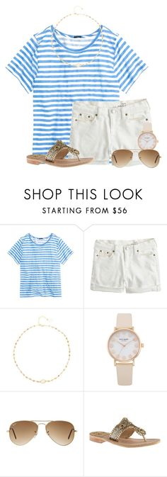 """My savior loves☀️"" by flroasburn ❤ liked on Polyvore featuring J.Crew, Ela Rae, Ray-Ban and Jack Rogers"