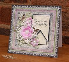 Card using Raindrops on Roses papers, Arianna Blooms flowers and sentiment from Heartfelt Creations and the Enhanced Banner die from Spellbinders. Made by Liz Walker