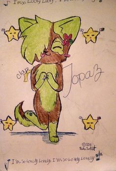 Ok Tyler wasn't actually my first OC - it was actually this gal, Topaz the wolf/dog. I was a HUGE furry back in the day... Eh heh....  and the little star guys in the background are another of my early ocs, Hoshi. Hoshi the Asian American star. I drew this 2 or so years after Topaz's 'birth'. Back in the day, my art leaned more towards realism, but now i'm just like meh. Cartoony styles for all~