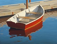 Jim Holland - Present), American Artist - Red Dinghy - 22 x 28 Edward Hopper, Landscape Paintings, Landscapes, Oil Paintings, American Artists, American Realism, Boat Painting, Dinghy, Living In New York