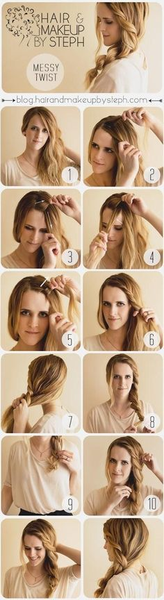 If you have thick hair, this chunky twist is a romantic variation on the side pony. | 27 Tips And Tricks To Get The Perfect Ponytail | http://www.jexshop.com/