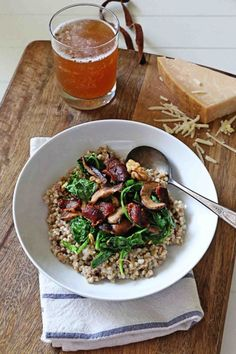 Cheesy Buckwheat with Kale and Mushrooms