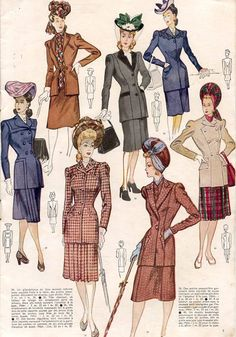 Le Petit Echo de la Mode, 1943 suit skirt jacket dress wool winter vintage fashion style wool plaid blue tan red white brown black velvet hats hair color illustration 40s era vintage fashion