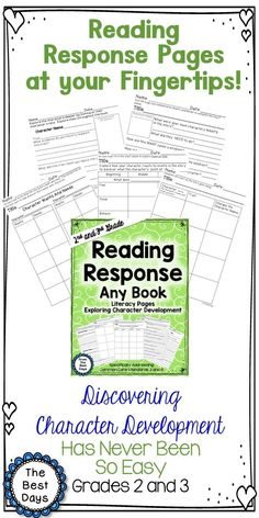 Help your students better understand Character Development with these amazing Reading Response Literacy Pages.  The pages closely examine character's as they develop across a text!  Check them out at The Best Days!