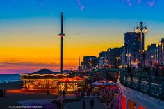 Brighton seafront at sunset
