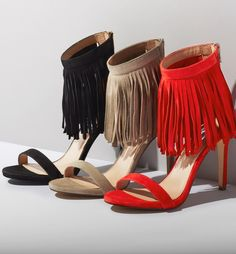Fringe is totally going to remain in-style this fall, and these fabulous heels have the perfect amount! Fun, flirty, and fierce? What more can a gal ask for in a pair of shoes!