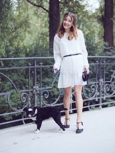 My favorite fall outfits from last year. The Fashion Rose. All in white fall winter look. White ruffle blouse Zara. White dress Zara. White on white. Black t-strap pumps. Sunday walk with my dog all in white http://www.thefashionrose.com/2016/10/my-favorite-fall-outfits-from-last-year.html