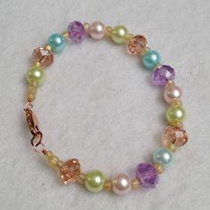 Pastel Ori crystal and glass pearl plus size beadwork bracelet, $24