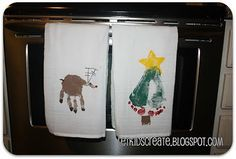 Hand & Footprint Christmas kitchen towels from Let Kids Create