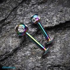 Colorline PVD Aurora Gem Ball Steel Labret