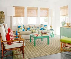 We love the exciting hues in this coastal cottage living room. Tour the rest of this beach-inspired home: http://www.bhg.com/decorating/decorating-style/cottage/a-colorful-coastal-cottage/?socsrc=bhgpin051813colorfulcoastallivingroom=3