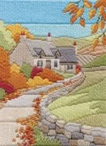 Autumn Cottage Long Stitch Kit by Derwentwater Designs from the range 'Seasons in Long Stitch' designed by Rose Swalwell.