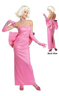 This Classic Marilyn Monroe pink gown from Gentlemen Prefer Blonds and sang Diamonds are a Girl's best friend. Made Clair won first place in Senior Halloween party at Cole's house during our Senior year. -Sienna remembered one of her best sewing jobs.