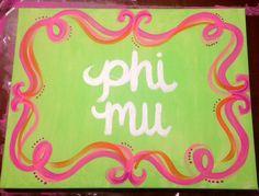 Phi Mu Canvas Painting!
