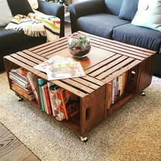 Finished our coffee table! Ash put the second coat of varnish on last night and Rob put the wheels on this morning. We love how it turned out! #robandashreno #yegreno #livingroom #diy #furniture #project #coffetable by robandashreno