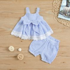 Striped Camisole Top and Shorts for Baby / Toddler Girl Baby Girl Frocks, Baby Girl Pants, Frocks For Girls, Kids Frocks, Toddler Girl Dresses, Little Girl Dresses, Toddler Outfits, Kids Outfits, Toddler Girls