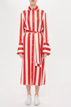 Stripe Satin Shirt Dress by Boutique
