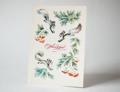 New Year's postcard squirrels in the forest Soviet by SovietEra