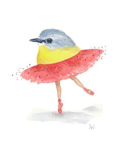 Bird Watercolor Painting  Ballet Bird Eastern by WaterInMyPaint, $40.00