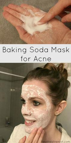 Make a Baking Soda Face Mask for Acne Prone Skin - This mask helps prevent breakouts and fights acne. It also exfoliates your skin and removes dead skin cells that can clog pores. #BakingSodaShampooRecipeBlackHair #WhatCanIUseInsteadOfBakingSoda #BakingSodaOnBleachedHair Baking Soda Mask, Baking Soda For Hair, Baking Soda Shampoo, Baking Soda Uses, Dry Shampoo, Clarifying Shampoo, Hair Shampoo, Pore Mask, Hair Cleanser