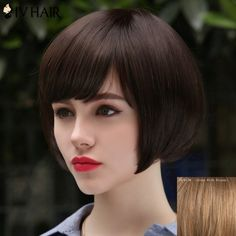 Women's Trendy Siv Hair Human Hair Short Bobo Style Wig #>=#>=#>=#>=#> Click on the pin to check out discount price, color, size, shipping, etc. Save and like it!