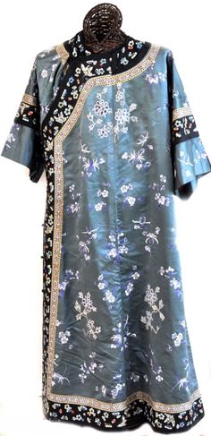 China, silk with embroidery robe, late 19th c Ching dynasty